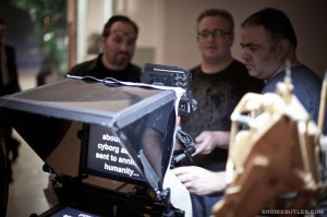 DP Guy Livneh operates a Canon 5DMKII rig with Teleprompter for James Cameron
