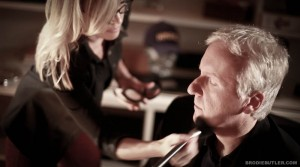 "James Cameron in the Make-up chair on set filming ""23"" Directed by A.J. Carter"